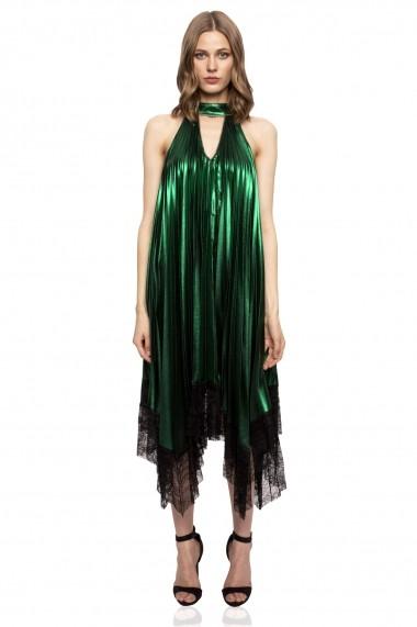 Rochie NISSA asimetrica verde metalic cu dantela Verde
