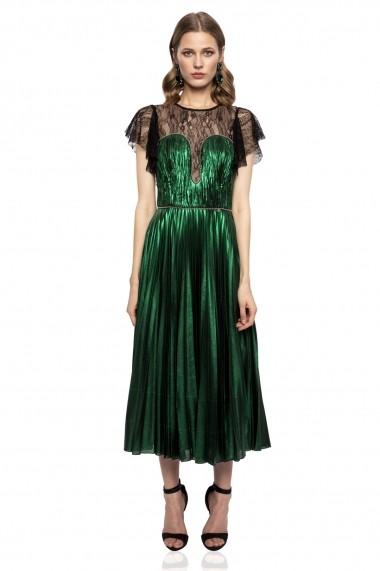 Rochie NISSA verde metalic cu insertie de dantela si perle stralucitoare Verde