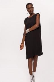 Rochie NISSA plisata cu detaliu pe umeri Negru