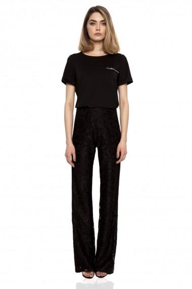 Pantaloni NISSA evazati cu aplicatie de cristale Negru