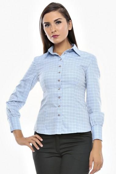 Camasa bumbac fin Boyfriend Shirt - Cardinale Rosa bleu DUO-CR0032BS