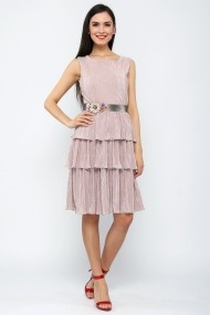 Rochie midi cu volane suprapuse - Perla Notte - Cardinale Rosa roz pal