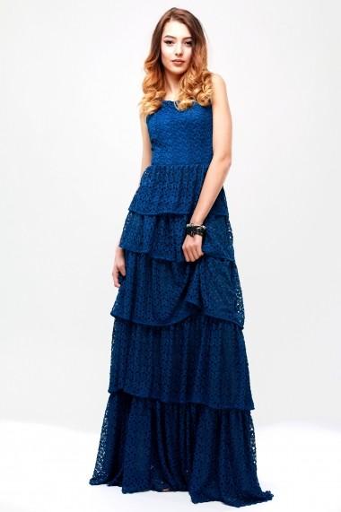 Rochie lunga cu volane suprapuse - Prussian Blue - Cardinale Rosa albastru DUO-CR0112NPB-V