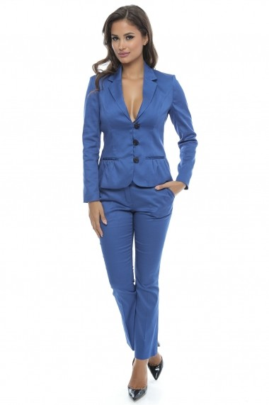 Costum office din bumbac Royal Blue Fall - Sweet Rose of Mine gri