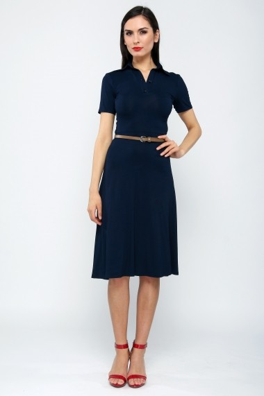 Rochie polo din bumbac Navy Blue - Sweet Rose of Mine bleumarin DUO-SR0011NNB