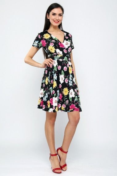 Rochie jerse bumbac Flower Day Wrap - Sweet Rose of Mine negru, multicolor DUO-SR001FDW