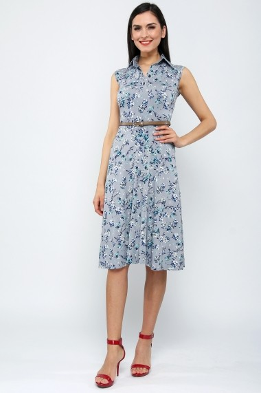 Rochie fara maneci din bumbac - Cherry Blossoms - Sweet Rose of Mine gri, imprimeu floral