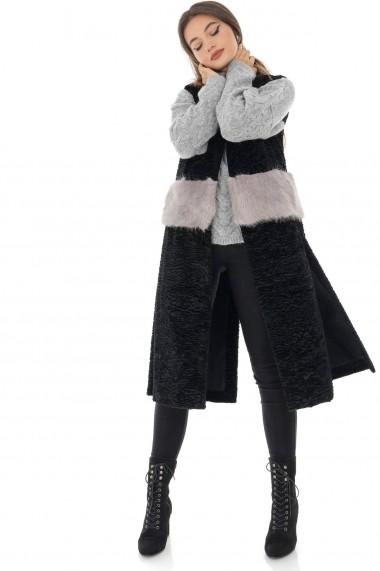 Vesta Roh Boutique lunga, neagra cu blanita alba, ROH - JR469 negru