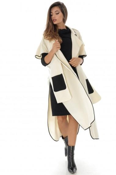 Palton Roh Boutique crem, lung cu detalii negre, ROH - JR454 crem