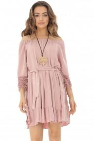 Rochie scurta Roh Boutique simpla, roz, de vara - ROH DR3843 roz