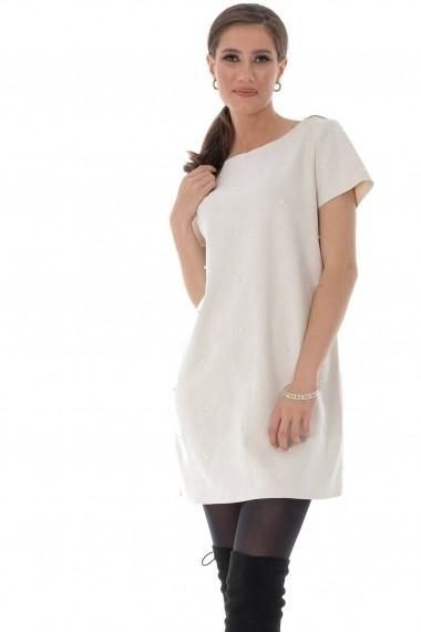 Rochie Roh Boutique alba, cu aplicatii de perle, ROH - DR4014 alb