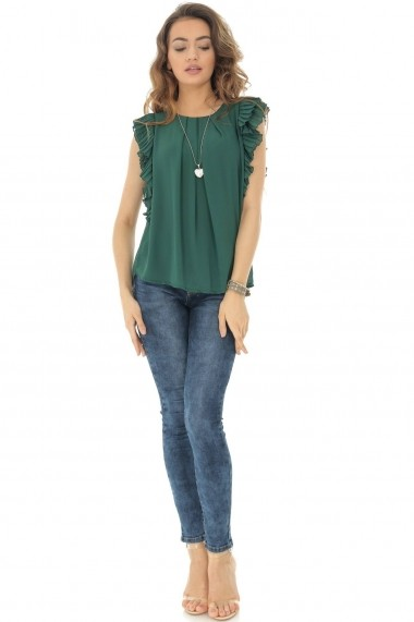 Bluza Roh Boutique verde, cu volane, ROH - BR2110 verde