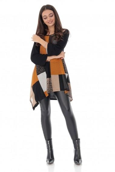 Bluza Roh Boutique negra-multicolora, cu maneci trei sferturi, ROH - BR2190 negru|multicolor