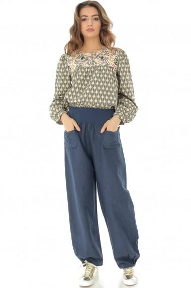 Pantaloni largi Roh Boutique din in - TR315 bleumarin
