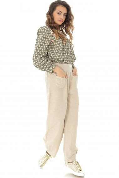 Pantaloni largi Roh Boutique din in - TR314 bej