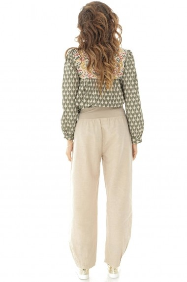 Pantaloni largi Roh Boutique din in - TR314 bej