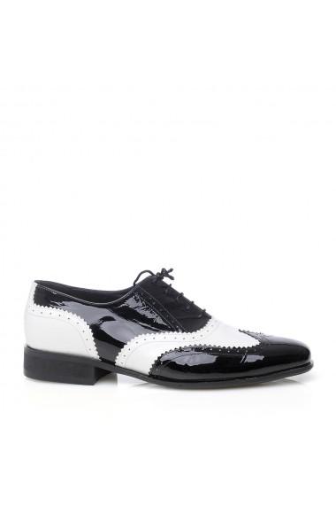 Pantofi pentru barbati VERONESSE alb-negru din piele naturala