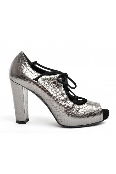 Sandale pentru femei Kate argintii din piele croco