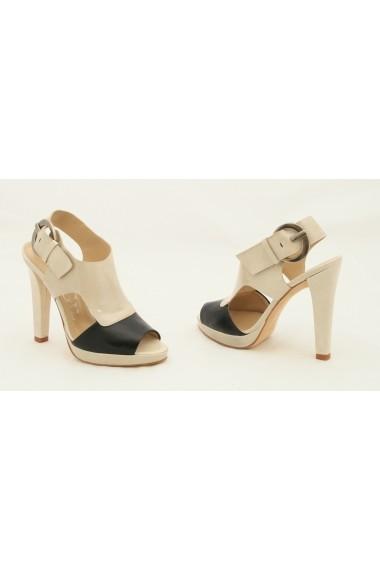 Sandale pentru femei Paco Gil din piele bej cu negru