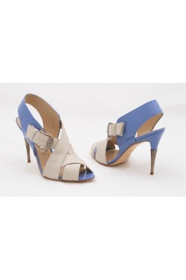 Sandale pentru femei Paco Gil din piele bej cu bleu