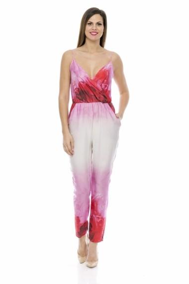 Salopeta Lashez cu bretele si imprimeu floral - Roz