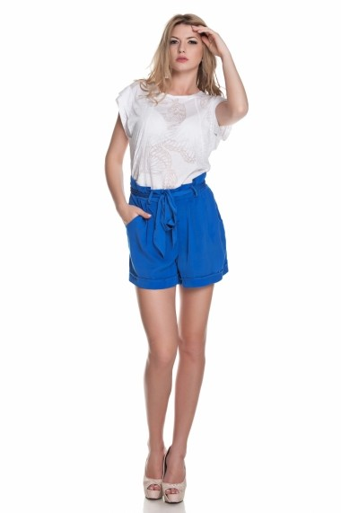 Pantaloni Lashez scurti cu cordon in talie - Albastru