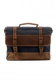 Geanta laptop din piele naturala si material textil cerat URBAN BAG Stockholm Gri