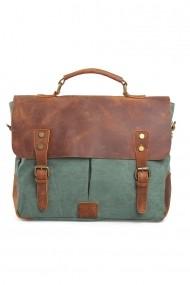 Geanta laptop din piele naturala si material textil URBAN BAG Oxford Verde