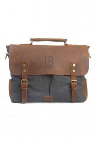 Geanta laptop din piele naturala si material textil URBAN BAG Oxford Gri