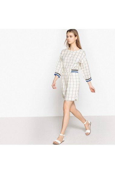 Rochie de zi La Redoute Collections GEQ334-ecru-blue_checked Ecru