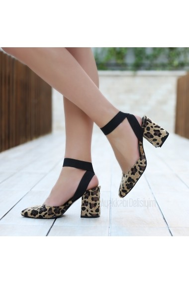 Pantofi cu toc DELISIYIM Ransi Animal print
