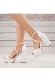 Sandale cu toc DELISIYIM Filorez Alb