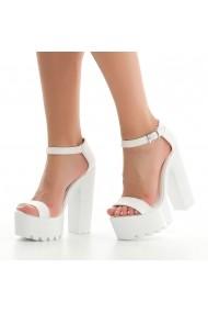 Sandale cu toc DELISIYIM Budyaf Alb