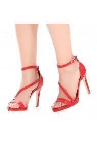 Сандали с ток DELISIYIM Buyis_S-Leather_Red червено