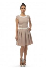 Rochie office AD-Fashion crem cu alb ADF-R431009
