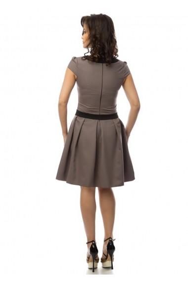 Rochie office AD-Fashion gri cu negru ADF-R043069
