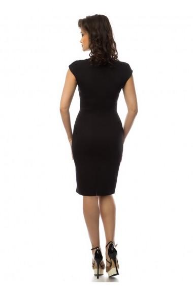 Rochie office AD-Fashion neagra cu nasturi ADF-R000076