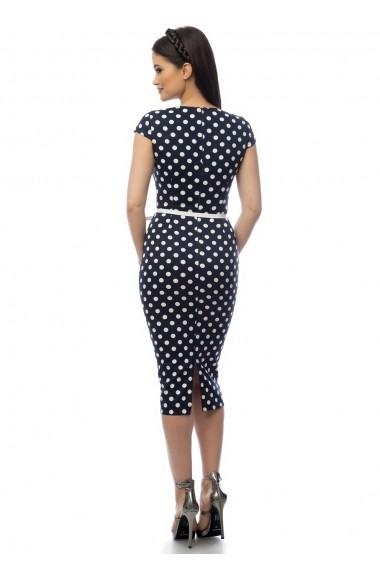 Rochie de zi AD-Fashion bleumarin cu buline albe ADF-R111i948