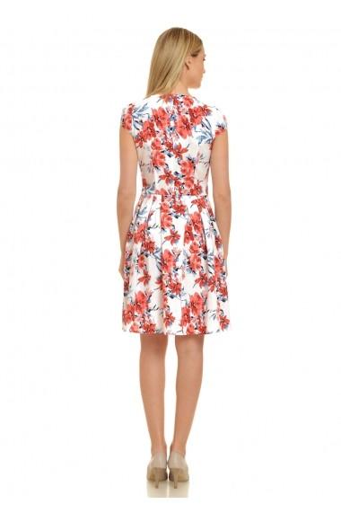 Rochie de zi AD-Fashion alba cu flori rosii ADF-R085i942