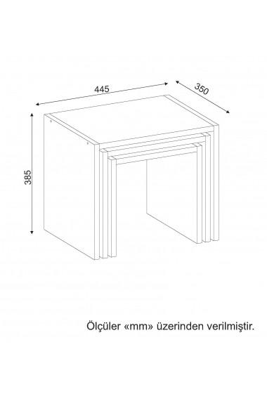 Set 3 masute Wooden Art 731WAT2824 Alb
