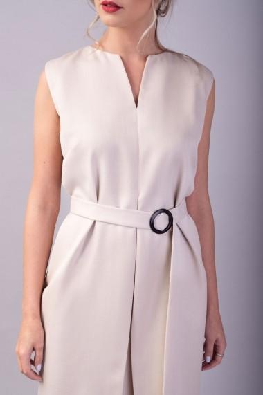 Rochie sarafan cu pliu Couture de Marie 0008061 din stofa crem Hazel