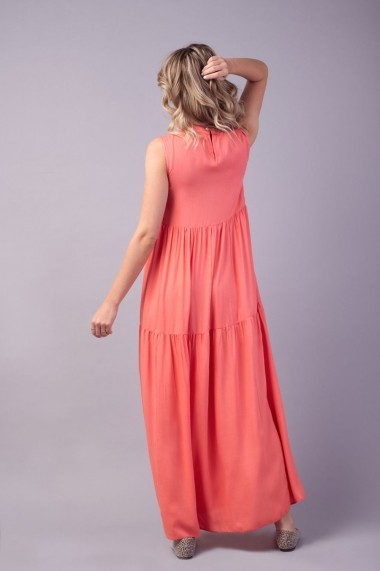 Rochie lunga coral Couture de Marie 0008044 cu volane Ella