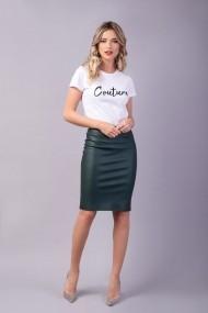 Fusta conica Couture de Marie 0008050 din piele verde Anna