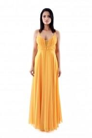 Rochie de zi Lille Couture din voal Ani, portocalie