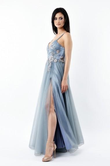 Rochie lunga de seara Lille Couture din tull Aniela, gri