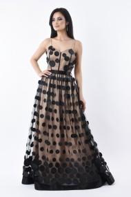 Rochie lunga de seara Lille Couture Paty din tulle cu buline, bej
