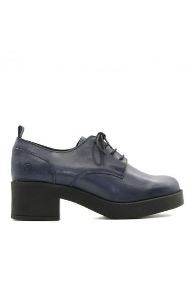 Pantofi Nappo piele cu talpa si toc gros bleumarin