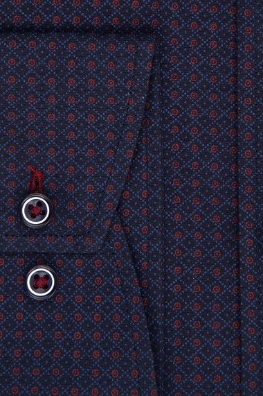 Camasa Espada slim fit albastra cu puncte rosii si dungi