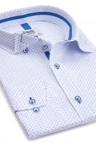 Camasa Espada slim fit alba cu imprimeu bleu