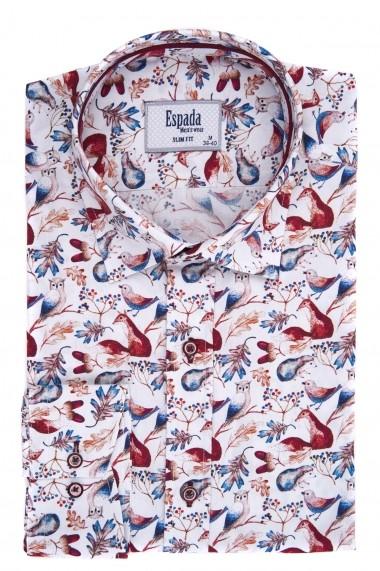 Camasa ESPADA MEN`S WEAR slim fit alba cu print multicolor pasari
